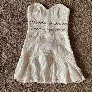 Lace white strapless dress